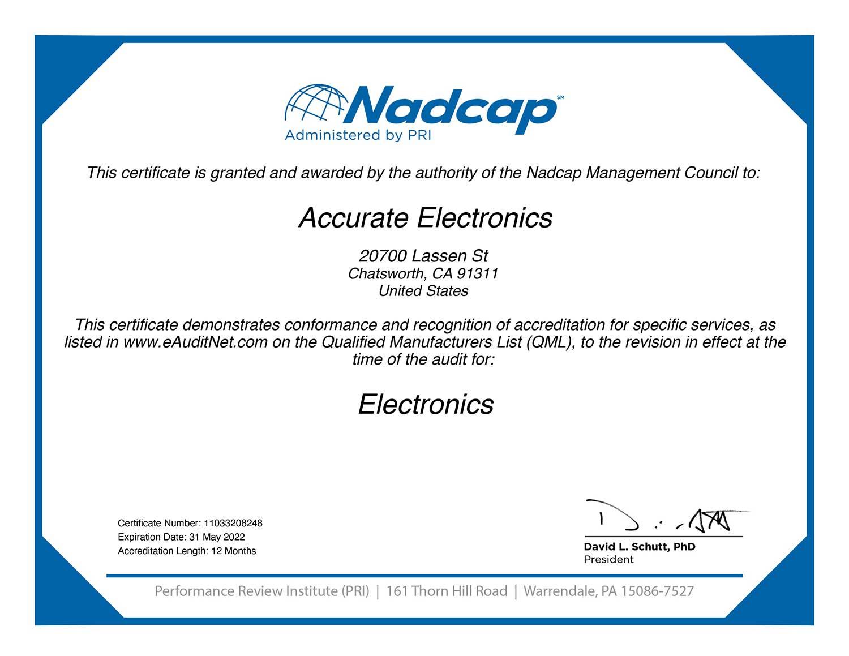 Accurate Electronics Certificate Nadcap Aerospace